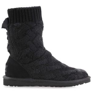 NEW UGG Women's Isla Knit Black Boots